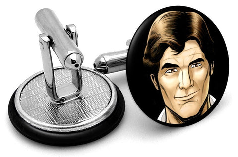 Han Solo Portrait Cufflinks - Angled View