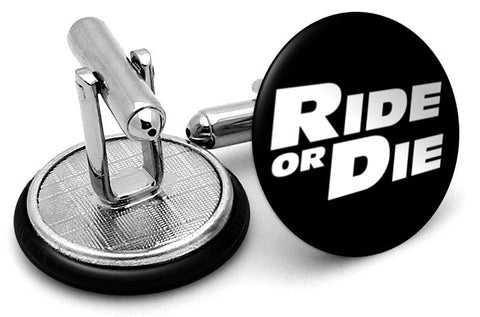 Ride Die Fast Furious Cufflinks - Angled View