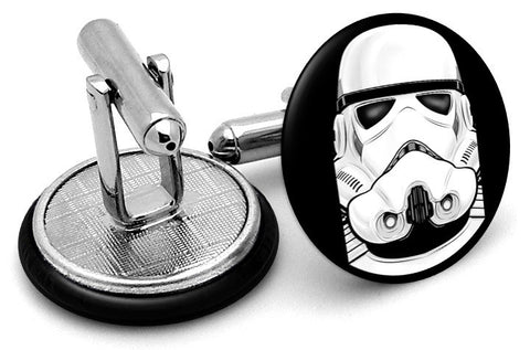 Stormtrooper Portrait Cufflinks - Angled View
