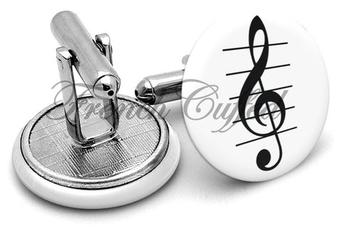 Treble Clef Cufflinks - Angled View