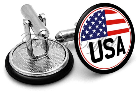 USA Badge Cufflinks - Angled View