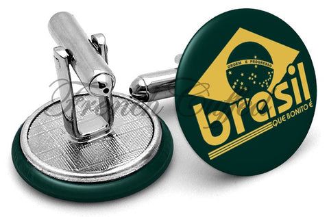 Brasil Que Bonito Cufflinks - Angled View