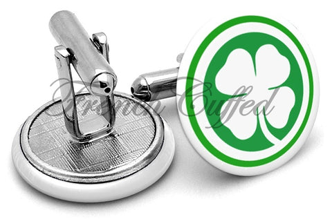 Four Leaf Clover Luck Cufflinks - Angled View