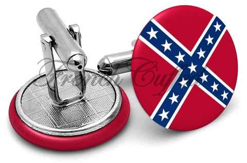 Confederate Flag Cufflinks - Angled View