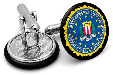 FBI Federal Bureau Investigation Cufflinks - Angled View
