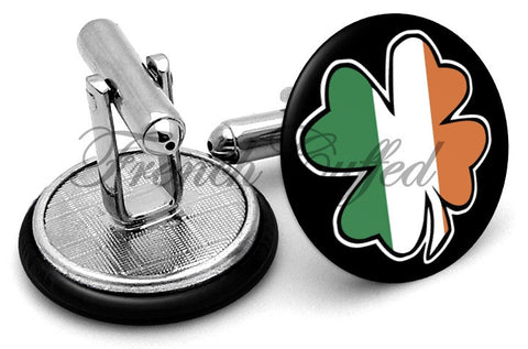Irish Flag Clover Cufflinks - Angled View