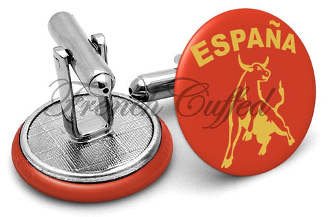 Espana Spain Bull Cufflinks - Angled View