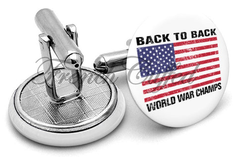 USA World War Champs Cufflinks - Angled View