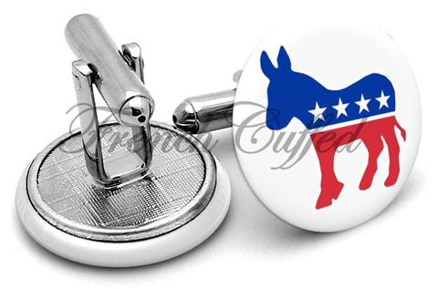 Democratic Party Donkey Cufflinks - Angled View