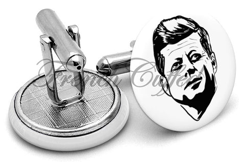John F Kennedy JFK Cufflinks - Angled View