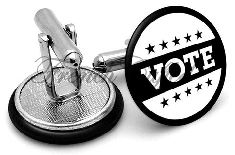 Vote Badge Cufflinks - Angled View