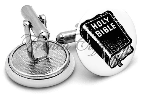 Holy Bible Cufflinks - Angled View
