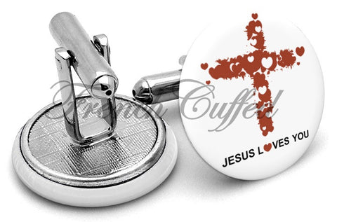 Jesus Loves You Cross Cufflinks - Angled View