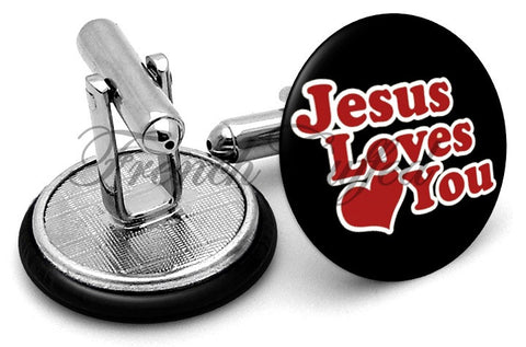 Jesus Loves You Cufflinks - Angled View