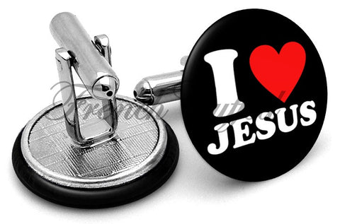I Love Jesus Cufflinks - Angled View