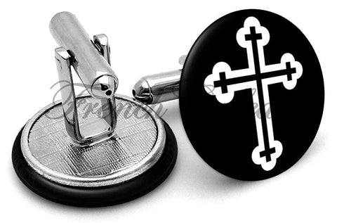 Orthodox Cross Cufflinks - Angled View