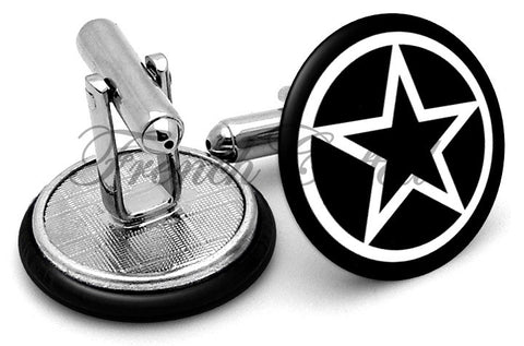 Pagan Star Pentacle Cufflinks - Angled View
