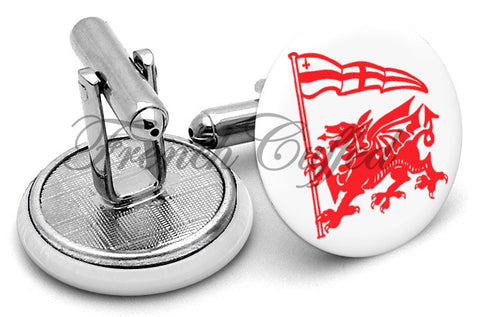 London Welsh Cufflinks - Angled View