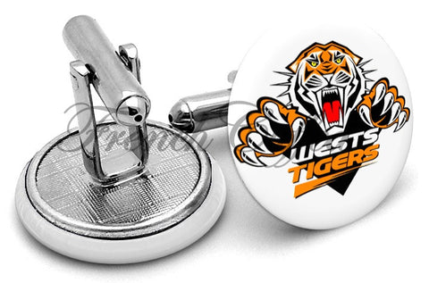 Wests Tigers Cufflinks - Angled View