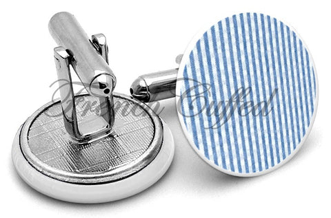 Seersucker Blue Cufflinks