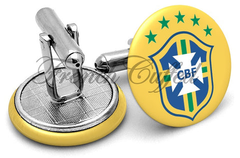 Brazil National Football Cufflinks - Angled View