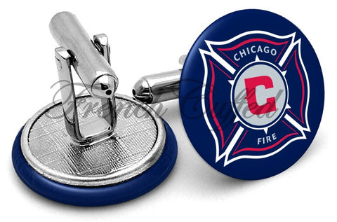 Chicago Fire Cufflinks - Angled View