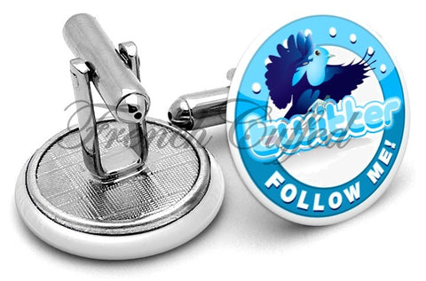 Twitter Follow Cufflinks - Angled View