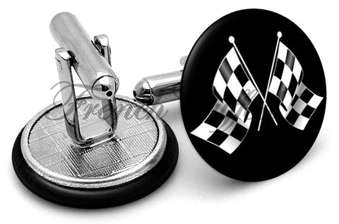Checkered Racing Flags Cufflinks - Angled View