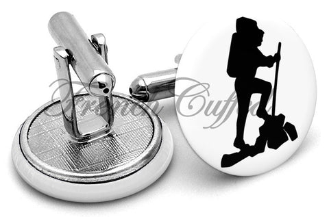 Mountain Hiking Hikers Cufflinks - Angled View