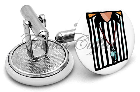Referee Whistle Cufflinks - Angled View