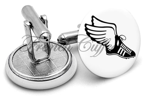 Running Shoes Athlete Wings Cufflinks - Angled View