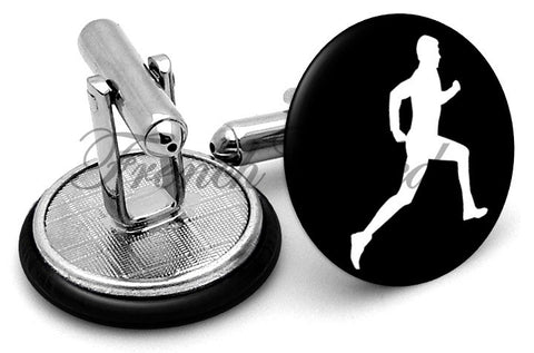 Runner Symbol Cufflinks - Angled View