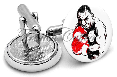 Mike Tyson Sketch Cufflinks - Angled View