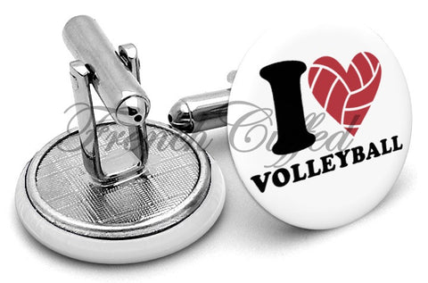 I Love Volleyball Cufflinks - Angled View