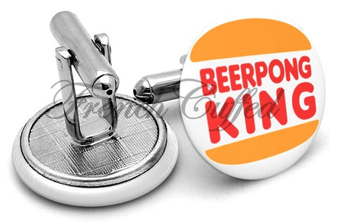 Beer Pong King Cufflinks - Angled View