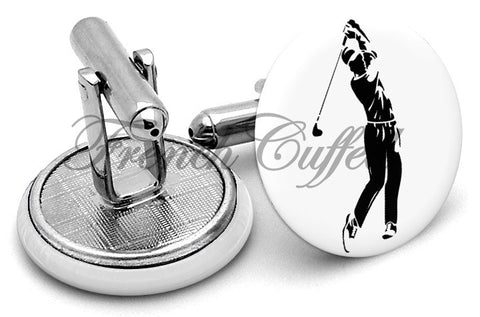 Golf Player Golfer Cufflinks - Angled View