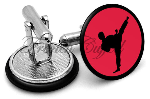 Martial Arts Kick Cufflinks - Angled View