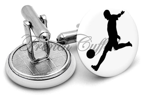 Soccer Player Cufflinks - Angled View