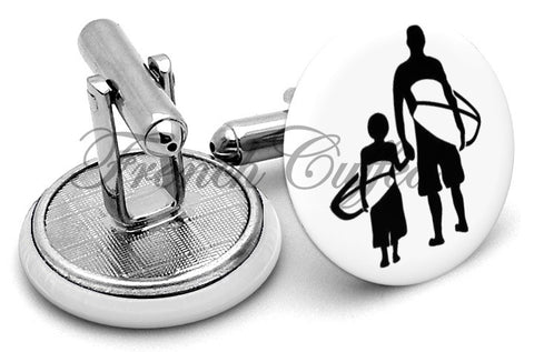 Surfers Young And Old Cufflinks - Angled View