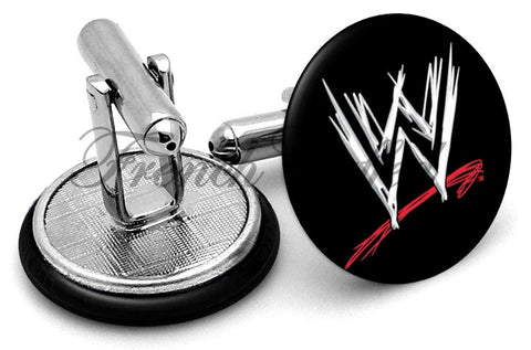 WWE World Wrestling Cufflinks - Angled View