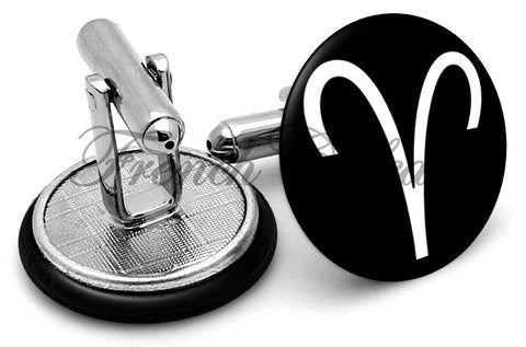 Aries Symbol Cufflinks - Angled View