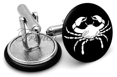 Cancer Crab Image Cufflinks - Angled View