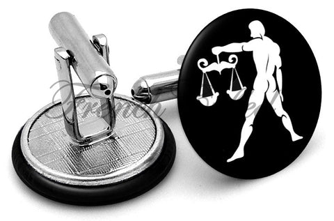 Libra Scales Image Cufflinks - Angled View