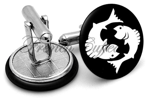 Pisces Fish Image Cufflinks - Angled View