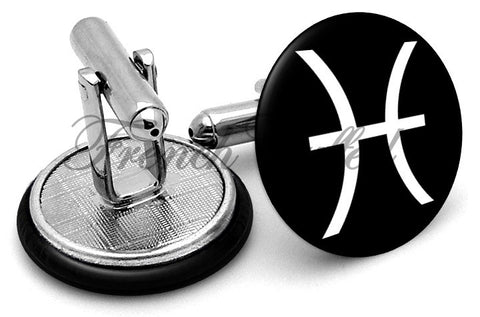 Pisces Symbol Cufflinks - Angled View