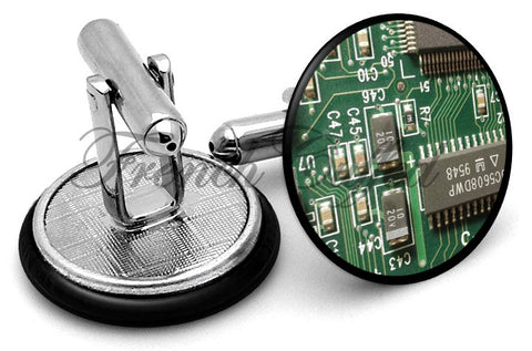 Circuit Board Chip Cufflinks - Angled View