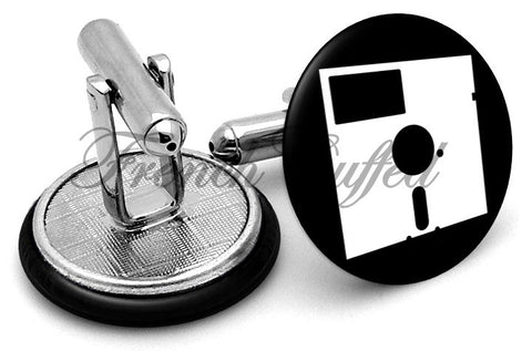 Vintage Floppy Disk Cufflinks - Angled View