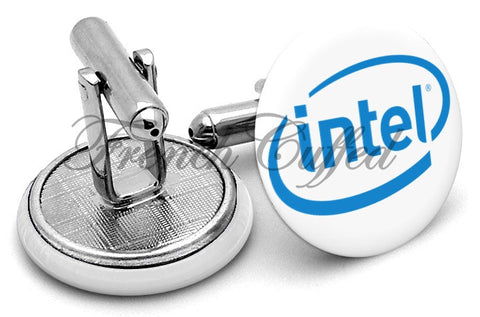 Intel Logo Cufflinks - Angled View