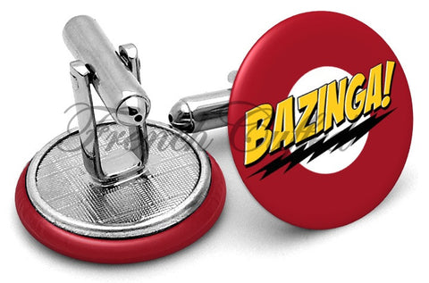 Bazinga Big Bang Theory Cufflinks - Angled View