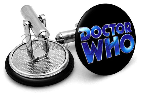 Dr Who Logo Cufflinks - Angled View